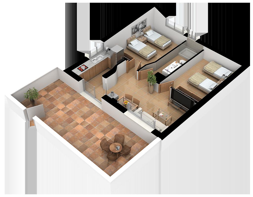 Complejo La Tejera: Plano de la Casa Riopar II